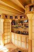 India-inspired kitchen with columns