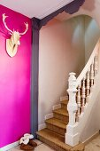 Stylised hunting trophy on hot pink wall at foot of staircase
