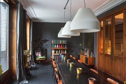 Vintage tables in dining room