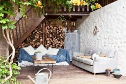 Lounge area on wooden terrace