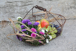 Basket of asters, grapes, pears and damsons for the harvest festival