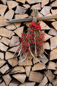 Bouquet of viburnum berries, rose hips, reeds and raspberry leaves on stacked firewood