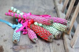 Hand-made lavender wands woven and tied with silk ribbons