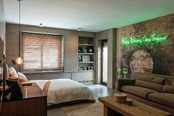 Neon lettering in bedroom