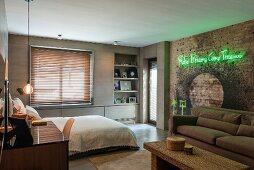 Neon lettering in bedroom
