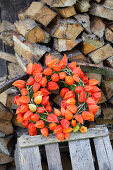 Wreath of moss and physalis on crate in front of stacked firewood