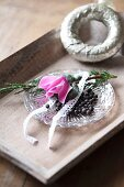 Cyclamen and juniper sprigs on glass plate