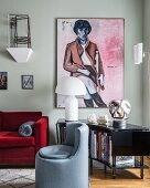 Portrait of woman and stylish mixture of furniture in living room