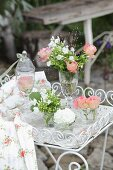 Romantic arrangement of white and pink flowers