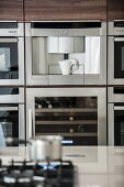 Fitted appliances in modern kitchen