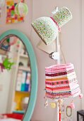 Lampshades decorated with fabric remnants
