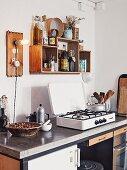 A minimalist kitchen with a concrete worktop