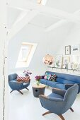 Retro sofa set in attic with white-painted beam structure