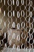 Curtain made from rings of wood veneer