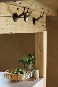 Fruit bowl made from wood veneer in rustic country-house kitchen