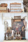 Arrangement of old dolls, icon and birdcage