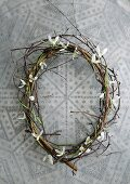 Wreath of woven willow twigs and snowdrops