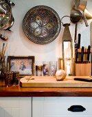 Oriental accessories in rustic kitchen