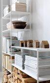 Weisses Regal mit Büchern, Zeitschriftenstapel und Holzscheiten