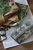Elegant Art-Deco evening bag next to glass-bead bag