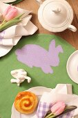 Coffee service on Easter place mat