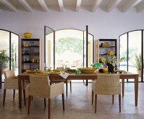 Set wooden table in Mediterranean dining room