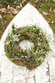 Wreath of snowdrops, spring snowflake, moss and ivy