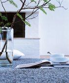 Glasvase mit Blätterzweig neben Büchern und Geschirr auf grauem Teppich