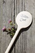Ornamental oregano and wooden spoon used as plant label