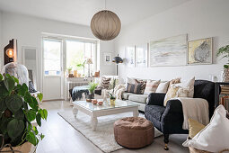 Various upholstered furniture in lavishly decorated living room