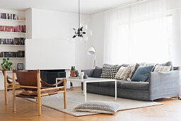 Vintage, Scandinavian-style furniture in living room