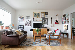 Living room in vintage Scandinavian-style
