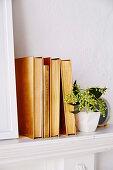 Alte Bücher mit Goldspary besprüht als Dekoration