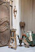 Antique and religious items arranged in corner