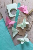 Origami butterflies, cardboard and washi tape
