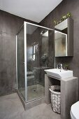 Glass shower cabinet and dark grey walls in bathroom