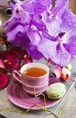 Tea in elegant teacup and saucer, green macaron and purple artificial flower