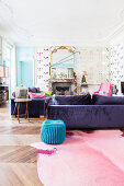 Colourful living room in French period building