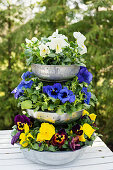 Flower stand made of metal bowls and planted with pansies
