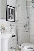 Vintage fittings in white bathroom