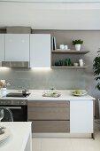 Elegant kitchen counter with glass splashback
