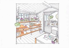 Illustration: a table construction for plants and garden tools in a garden shed
