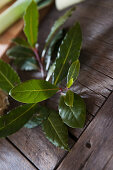 Sprig of bay leaves on rustic wooden table