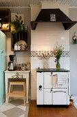 Old kitchen stove in rustic country-house kitchen