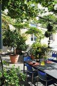 Lauschiger, begrünter Terrassenplatz mit Gartentisch