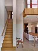 Narrow staircase next to elegant open-plan kitchen below gallery level