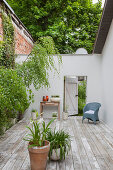 Open door in wall leading from terrace to garden