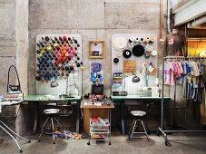 Textile studio in room with concrete walls