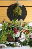 Festive flower arrangement on table