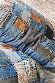 Patchwork cushion cover made of denim